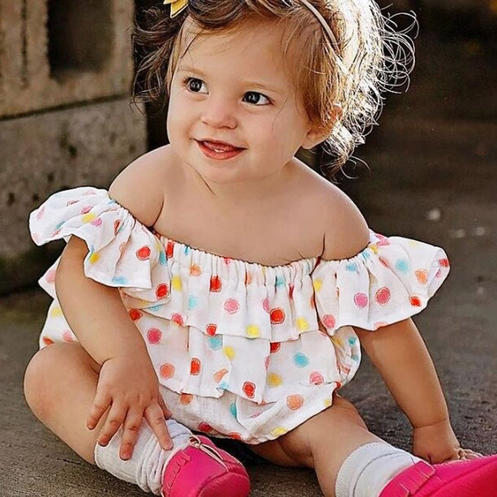 Lurryly Newborn Baby Girls Sleeveless Clothes Off Shoulder Floral Clothing Outfit 0-3T