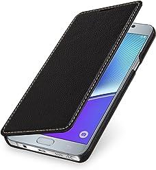 StilGut Book Type Case Senza Clip, Custodia in Vera Pelle per Samsung Galaxy Note 5, Nero