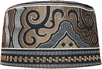 Tall Kufi Omani Arab Style African Hat Black Base Red and Silver Embroidery Cap