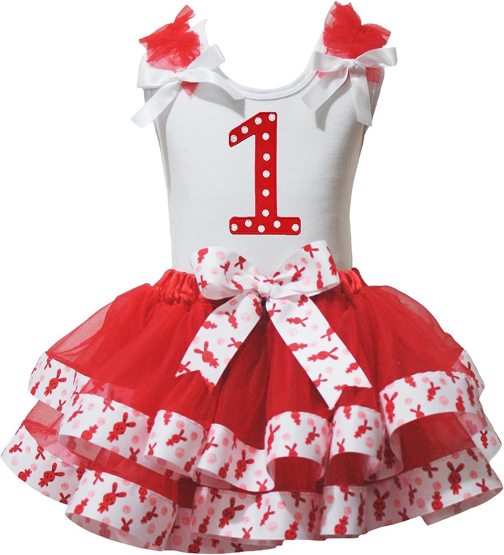 Easter Dress Polka Dots 1st White Shirt Rabbits Ribbon Red Petal Skirt Set Nb-8y