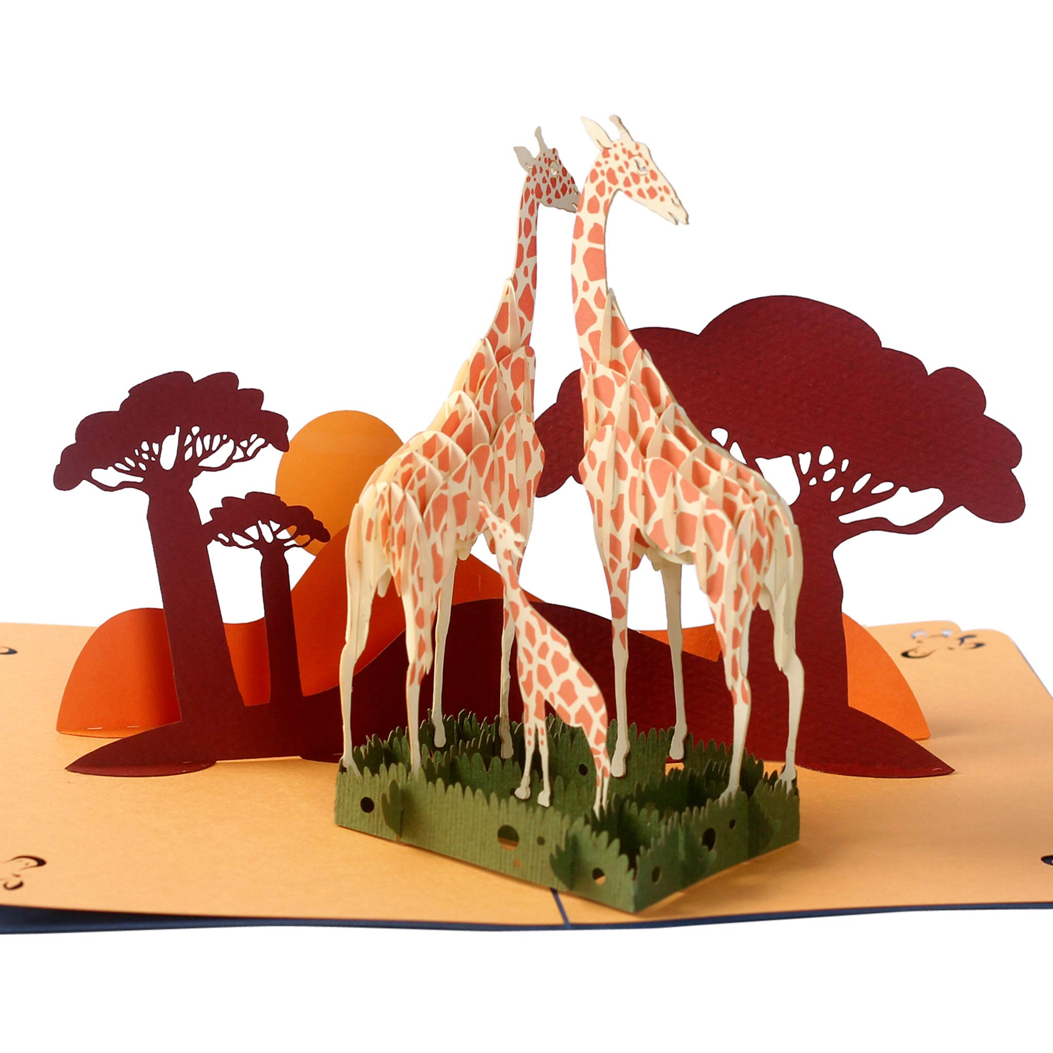 CUTEPOPUP GIRAFFE FAMILY Popup Greeting Cards, impressive handmade, idea gift for any Occasions, Mother's Day, Farther's day, Birthday, with white-shining cards holder…for animal lovers.