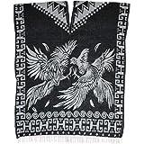 Mexican Poncho Frida Kahlo Fringe Gaban Jorongo Woven Black//White One Size Rever