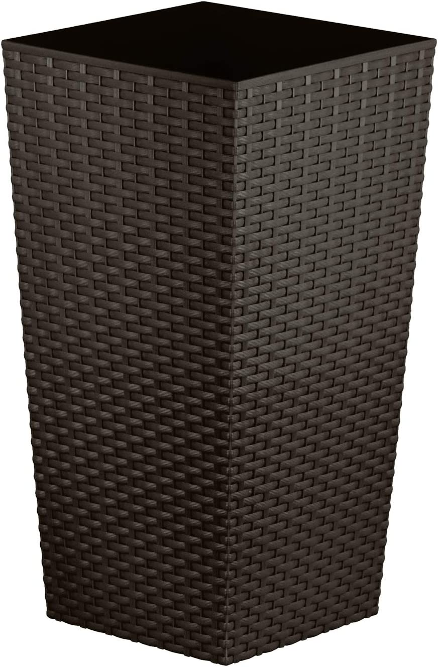 Macetero CrazyGadget® de ratán de plástico para interior y exterior, alto, cuadrado, tamaño grande, color negro, plástico, marrón, 11.4L