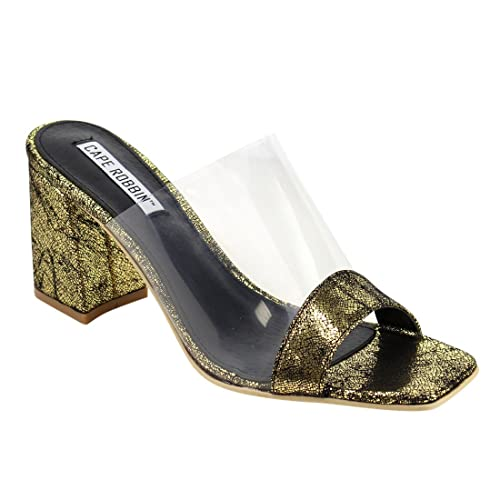6d93677677b Image Unavailable. Image not available for. Color  CAPE ROBBIN FG27 Women s  Slip On Clear Strap Block Heel Mule ...
