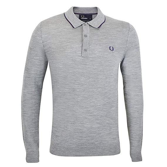 officiell butik klassisk bästa värde Fred Perry Long Sleeved Twin Tipped Fine Merino Wool Knitted Polo ...