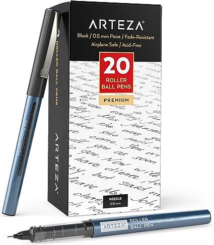 Arteza Bolígrafos de punta fina, paquete a granel de 20 bolis negros de tinta líquida con punta de aguja extra fina de 0,5 mm para escribir, tomar notas y dibujar con precisión:
