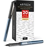 Arteza Rollerball Pens Fine Point, Set of 20 Black Liquid Ink, Extra Fine 0.5 mm Needle Tip Pen, Make Precise Lines for…