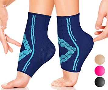 42a9fe5e7046f Ankle Compression Socks by SPARTHOS (Pair) – Plantar Fasciitis Ankle Brace  with Arch Support – for...