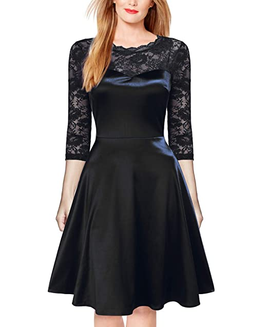 4caee362aad8d FORTRIC Women 3/4 Sleeve Vintage Lace Satin Party Formal Swing Dress Black S