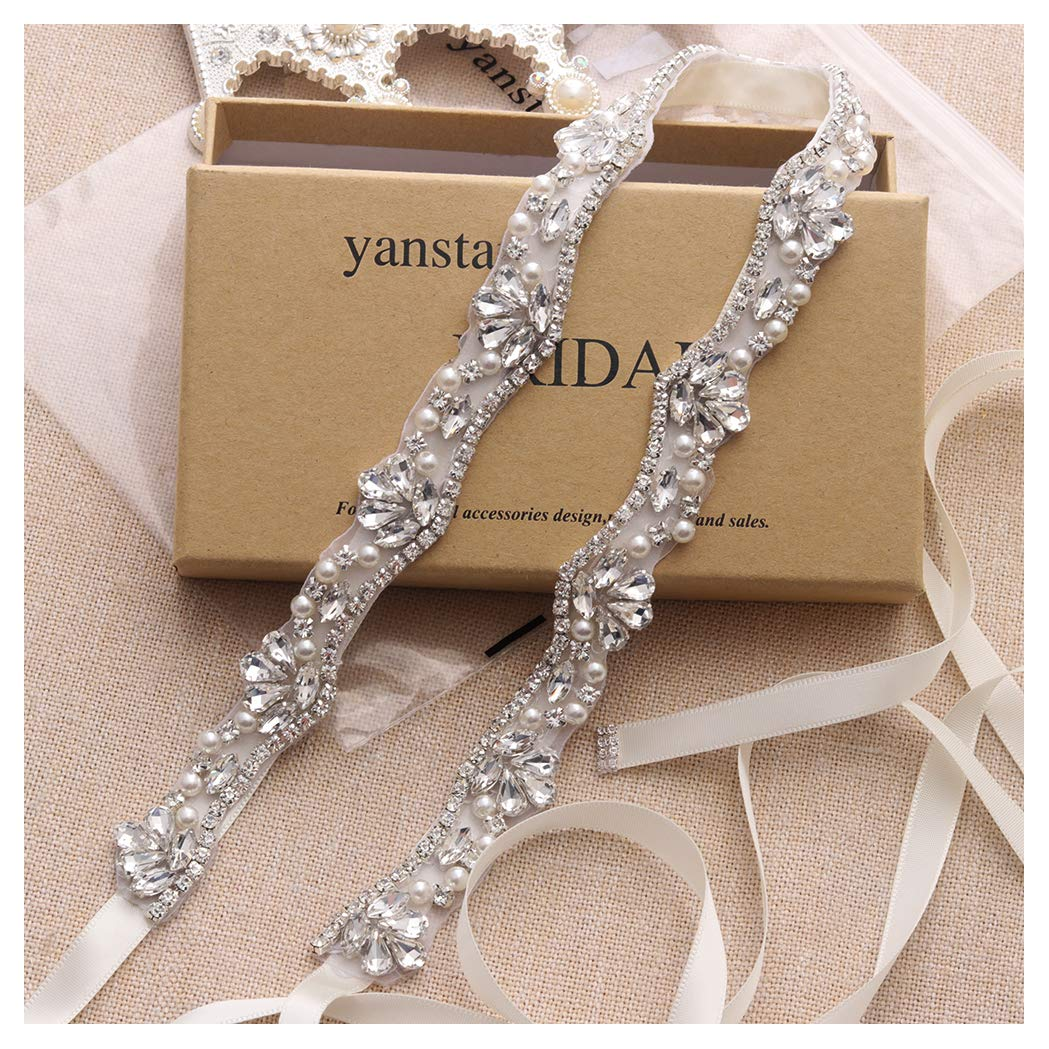 Yanstar Silver Rhinestone Crystal Pearls Wedding Bridal Belts With Ivory Ribbon Sashes For Bridal Bridesmaid Gowns