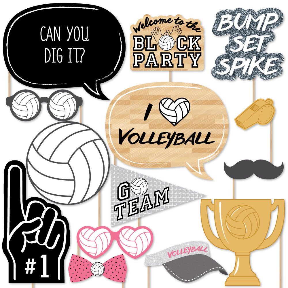 amazon com bump set spike volleyball photo booth props kit