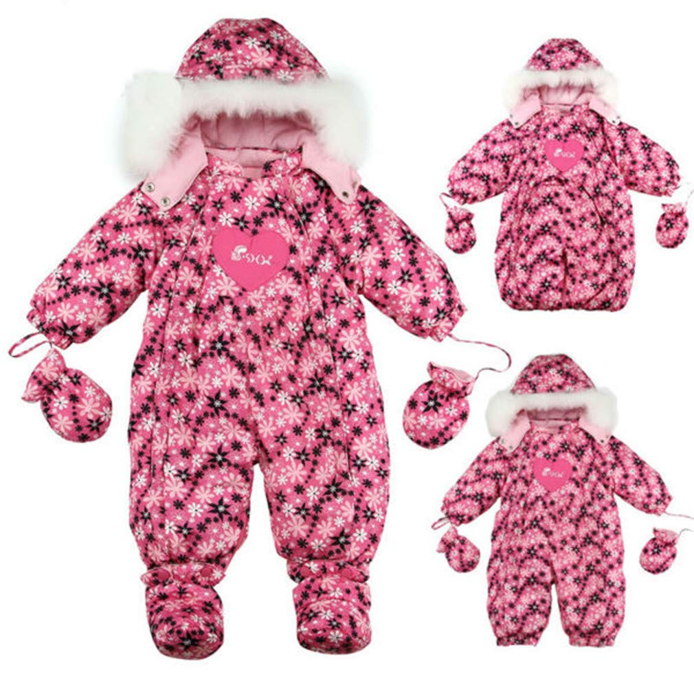 Russia Baby Winter Warm Jumpsuits Baby Clothes Sleeping Bag 1 to 2 Years Old Striped Flower Cheng se Tiao Wen 9M by CHUN YUJIE