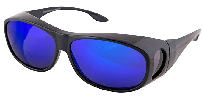 ec1a3914916 OPTICAID SUN SKI SPORTS OVER GLASSES   SUNGLASSES DESIGNED TO BE WORN OVER  PRESCRIPTION GLASSES. DARK METALLIC BLUE  Amazon.co.uk  Clothing