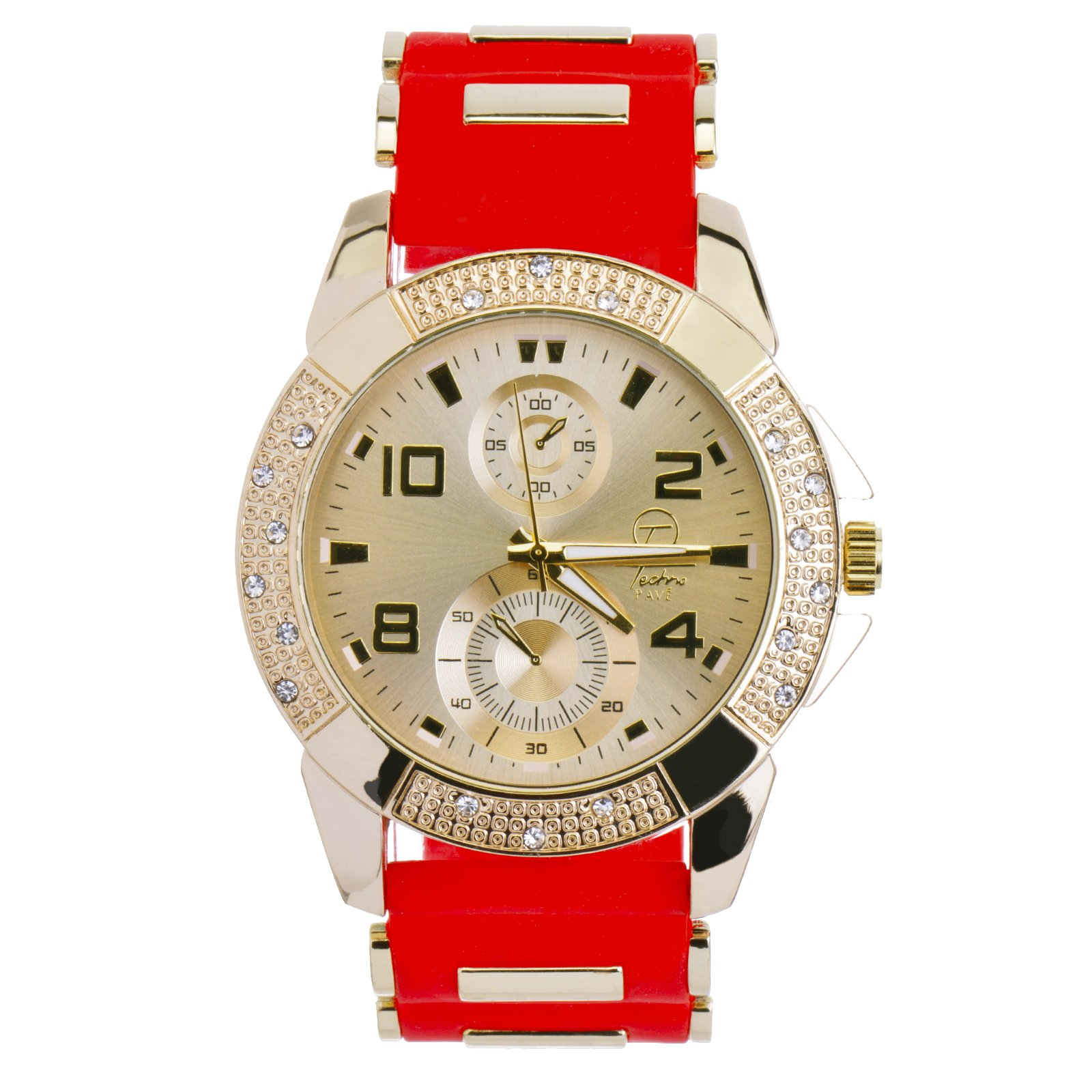 Techno Pave Men's Gold Plated Red Rubber Band Hip Hop Bling Iced Out Stoned Watches WR 8485 GRD