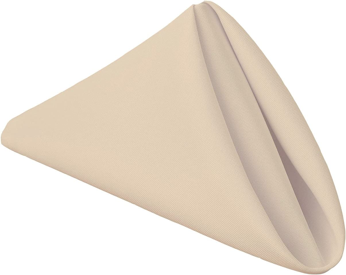 Gee Di Moda Cloth Napkins - 17 x 17 Inch Beige Solid Washable Polyester Dinner Napkins - Set of 12 Napkins with Hemmed Edges - Great for Weddings, Parties, Holiday Dinner & More