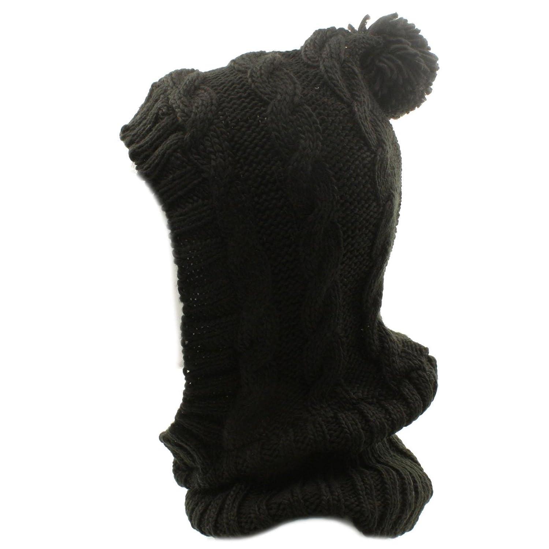 Winter Soft Chunky Pullover Knit Ski Hood Pom Pom Turtle Neck Neckwarmer