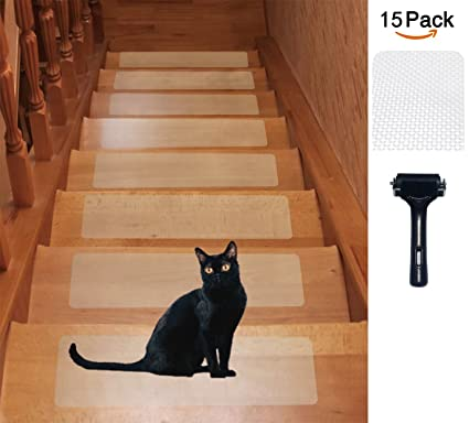 Elegant 15 Pack(6u0026quot;x 24u0026quot;), Rubber Clear Adhesive Stair Treads
