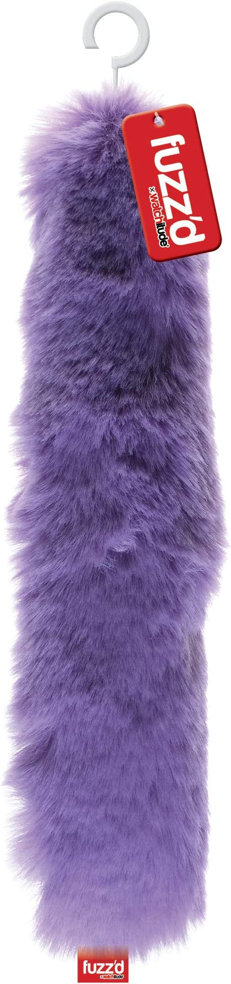 watchitude Fuzzd Slap Bracelet Scrunchy Fun and Colorful Soft Rings Fluffy Match Your Outfit, Carnival Stripes Furry Puff Balls Fuzzy Faux Fur Fun Bright Colors