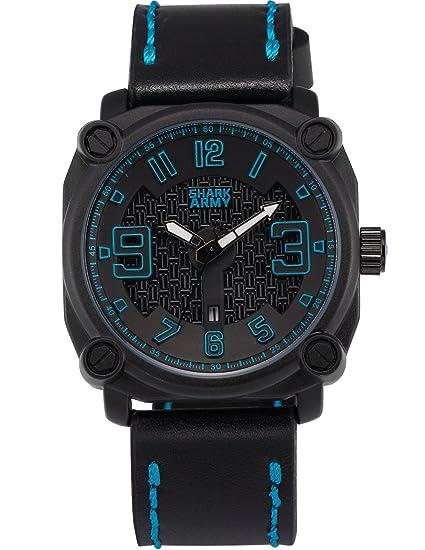 SHARK ARMY SAW225 Reloj Cuadrado Hombre Cuarzo de Cuero Negro: Amazon.es: Relojes