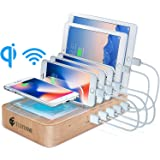 Fast Charging Station for Multiple Devices, 5 Port USB Charger Station, Wireless Charging Station with 6 Mixed Cables…