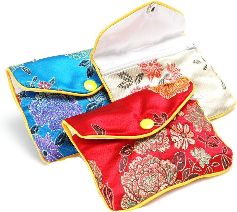 4EAELove Silk Jewelry Purse Pouch Gift Bags Beige Brocade Earring Storage Display Holder Case Organizer Gift Pack of 12