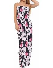 FASHION FAIRIES Women Ladies Floral Printed Bandeau Boobtube Sheering Sleeveless Long Maxi Dress