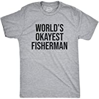 Mens Worlds Okayest Fisherman Tshirt Funny Fathers Day Fishing Tee