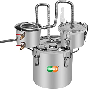 YUEWO 3 Pots DIY 3Gal/12Litres Moonshine Still Stainless Steel Water Alcohol Distiller Home Brew Wine Making Kits with Thumper Keg for DIY Brandy Whisky Wine Essential Oils