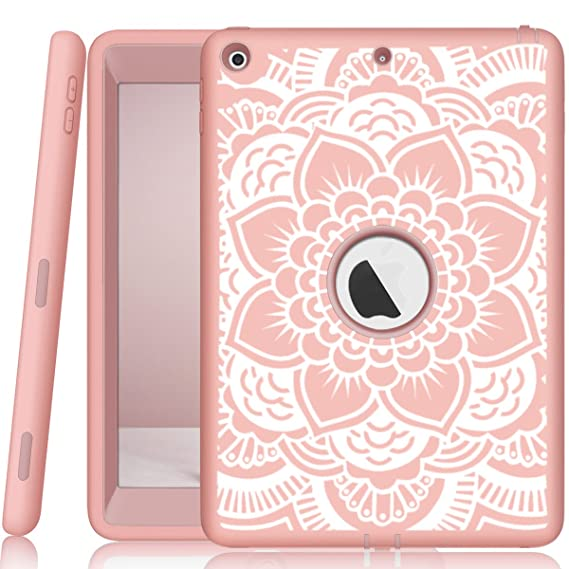 e0843bbc17a8 iPad 5th/6th Generation Case, Hocase Heavy Duty Shock Absorbent Rubber+Hard  Plastic Dual Layer Protective Case w/Mandala Floral Print and Kickstand ...