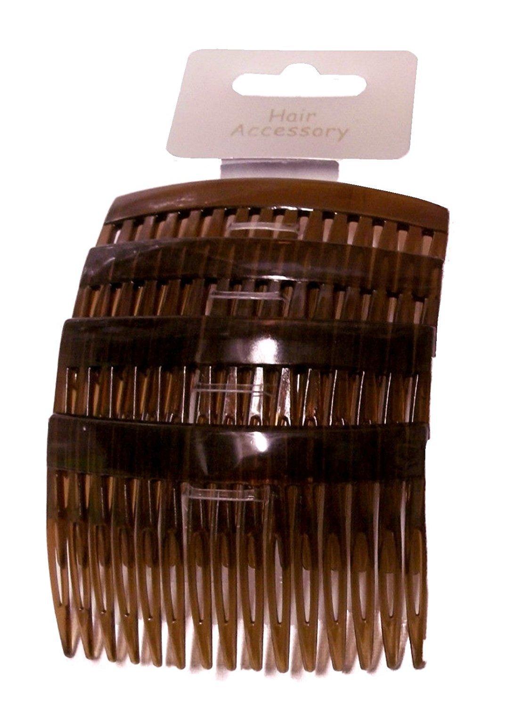Set of 4 Tort Plain Hair Combs Slides 7cm (2.8) by Pritties Accessories PRH02905