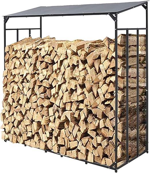 UKMASTER Estante de Leña de Metal Soporte para Leña de Chimenea 182x70x187cm Estantería de Leña Soporte de Leña para Interior y al Aire Libre con Techo Plástico Negro: Amazon.es: Bricolaje y herramientas
