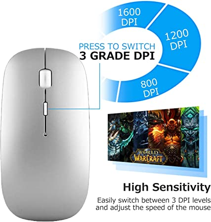 MacOS Laptop Android PC Tablet Rechargeable Wireless Mice with 3 Adjustable DPI for MacBook Slim Dual Mode Bluetooth Wireless Mouse Windows Bluetooth 4.0 and 2.4G Wireless