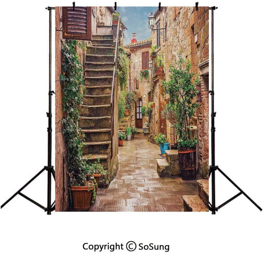 9x16Ft Vinyl Tuscan Decor Backdrop for Photography,View of an Old Mediterranean Street with Stone Rock Houses in Italian City Rural Culture Print Background Newborn Baby Photoshoot Portrait Studio Pro