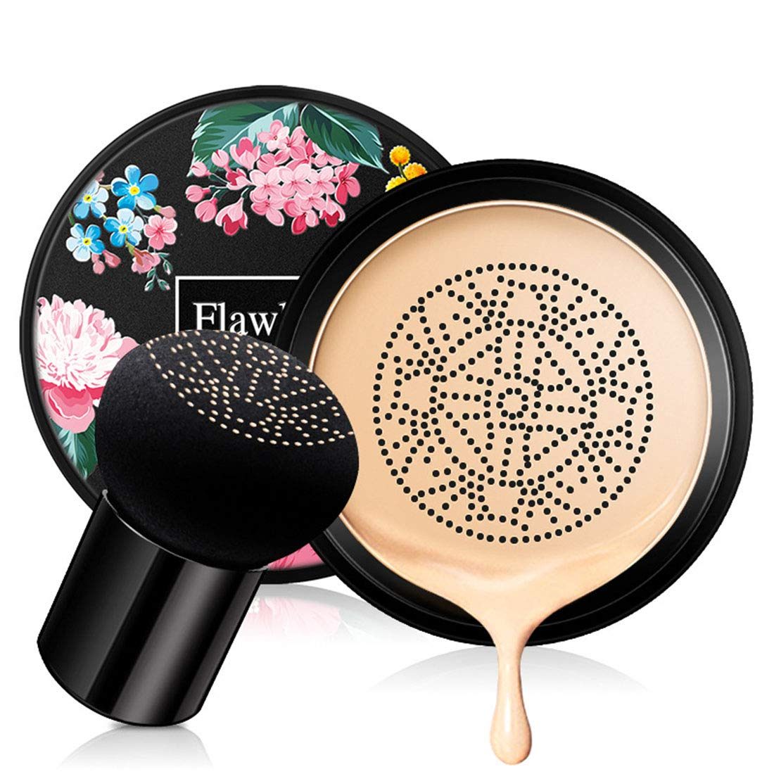 Mushroom Head Air Cushion CC Cream, Concealer Lasting Nude Makeup Moisturizing Brightening Pigment BB Liquid Foundation, Even Skin Tone Makeup Base Primer (Natural)
