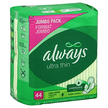 Always Ultra Thin Pads, Flexi-Wings, Long Super, Heavy, Jumbo Pack