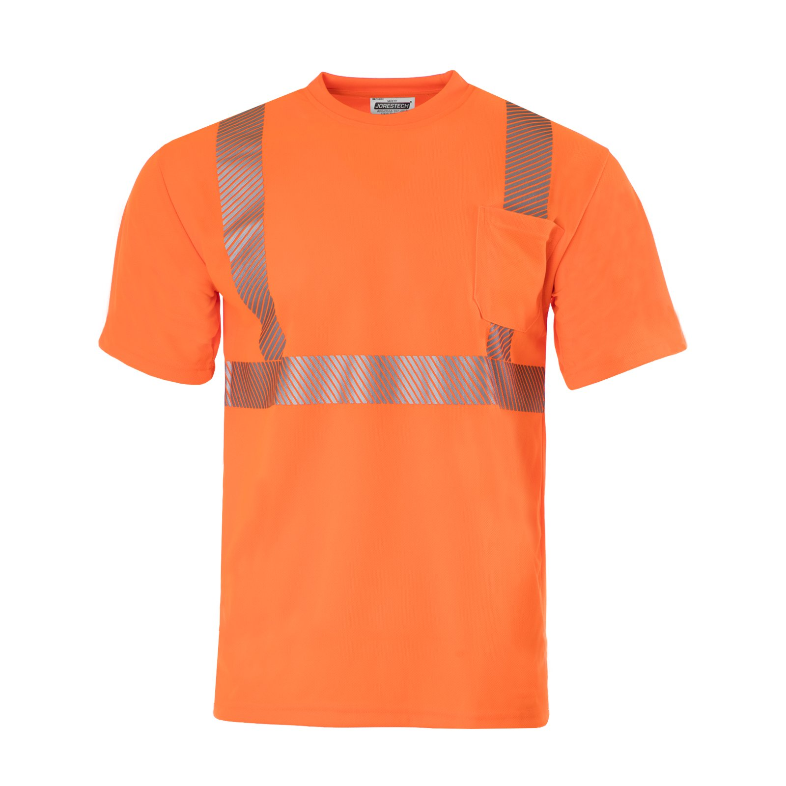 JORESTECH Safety T Shirt Heat Transfer Reflective High Visibility Short Sleeve Orange ANSI Class 2 Level 2 Type R TS-03 (M)