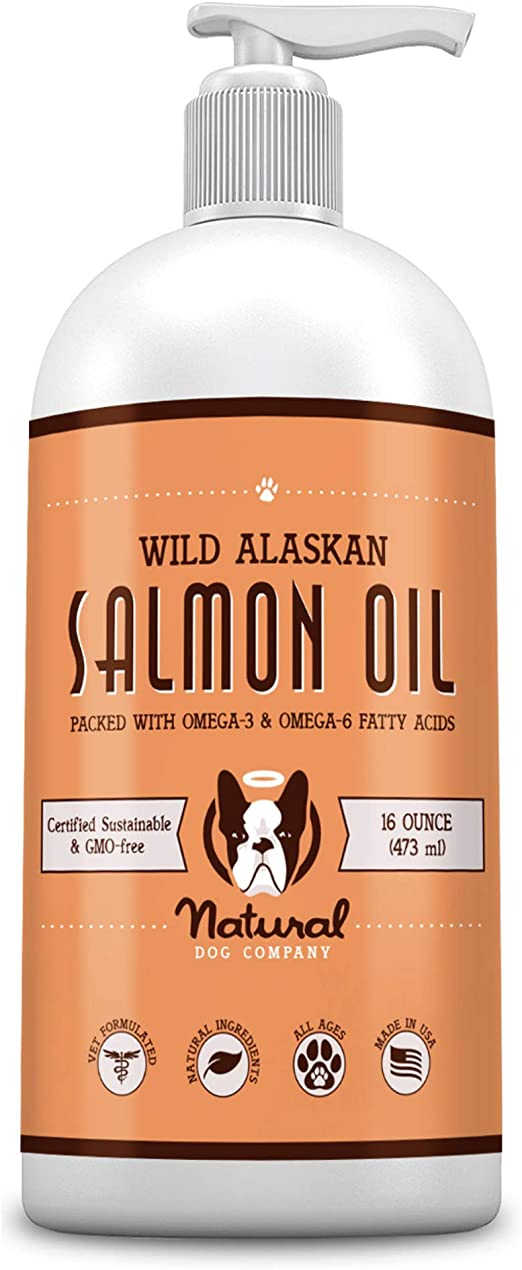 Natural Dog Company Wild Alaskan Salmon Oil for Dogs, Omega 3 & 6 Supplement with EPA & DHA, Supports Immune System, Heart Health, Joint Function, and Skin & Coat, All-Natural, 16 Fluid Ounce Bottle