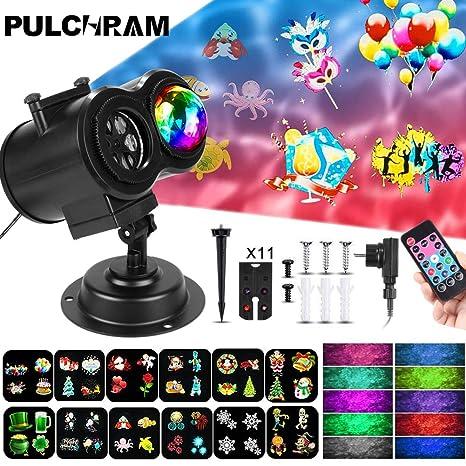 Luces de Proyector de Navidad de Halloween, Pulchram Impermeable Exterior Decoración Luz de Proyector con Control Remoto y 12 Diapositivas de Patrón ...