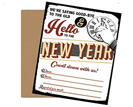vintage retro new year s eve themed party invitations set of 12 with