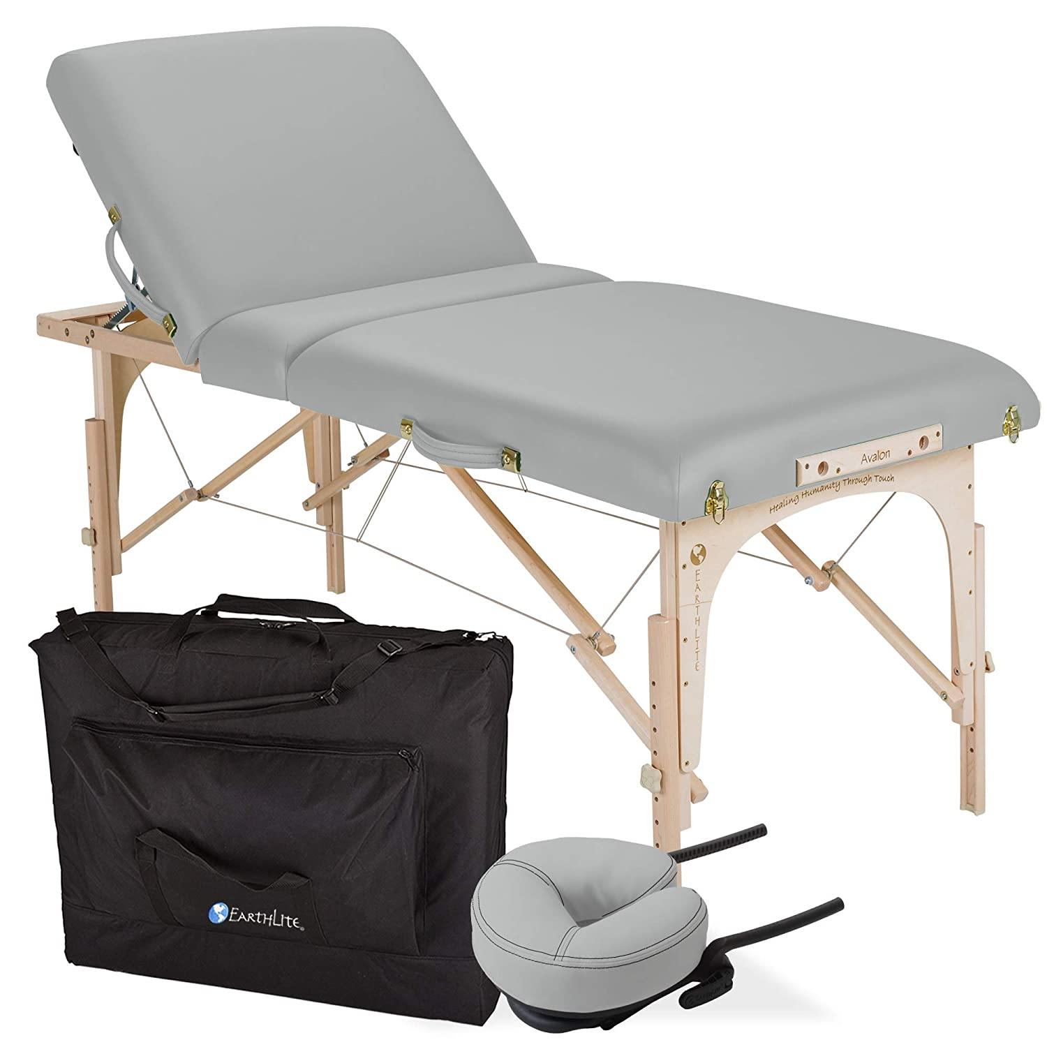Earthlite portable adjustable tilt massage table in Sterling light grey