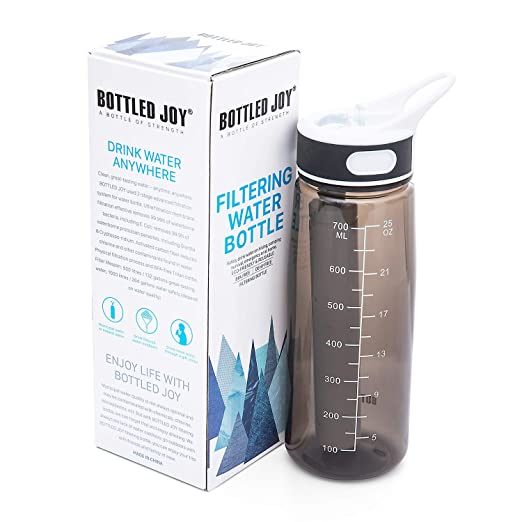 BOTTLED JOY Water Bottle with Filter, 27oz Water Bottle with Replaceable  2-Stages Filter BPA Free Hollow Fiber Membrane Filter Reusable Straw for