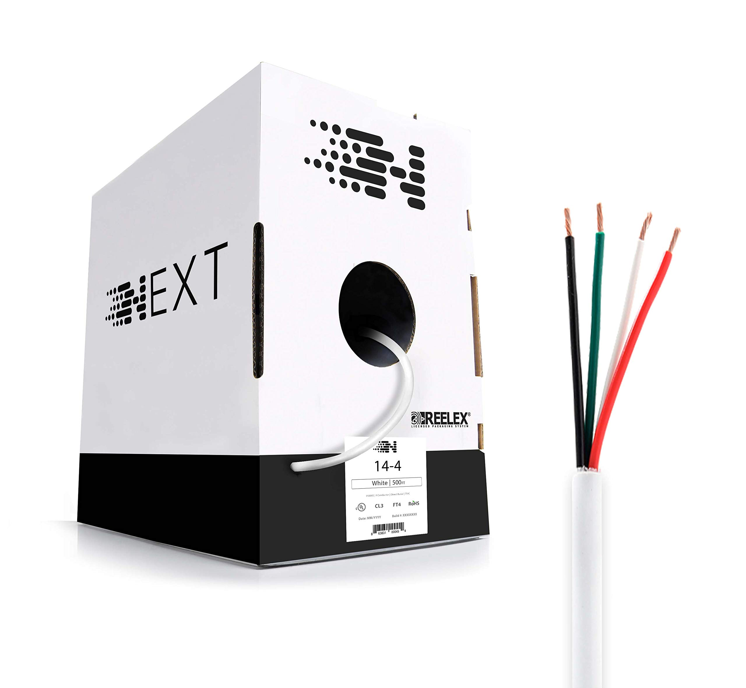 Next 14-4 Speaker Wire - in Wall (CL3) and Outdoor/In Ground (Direct Burial) Rated - Oxygen-Free Copper - 500 Foot Bulk Wire Pull Box - White by Next (Image #1)