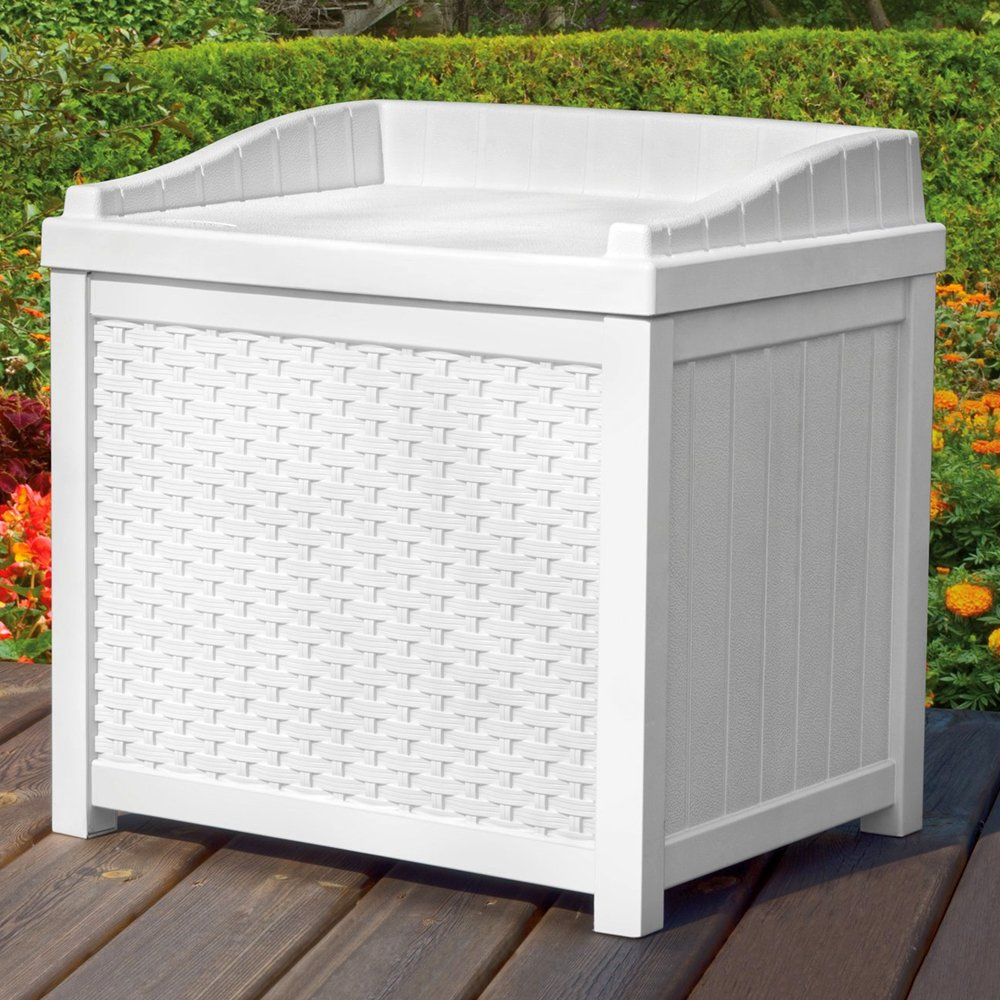 Outdoor Deck Box Wicker Storage Bench Seat 22-Gallon Ideal for All Garden Storage Needs in White Color M. Patio
