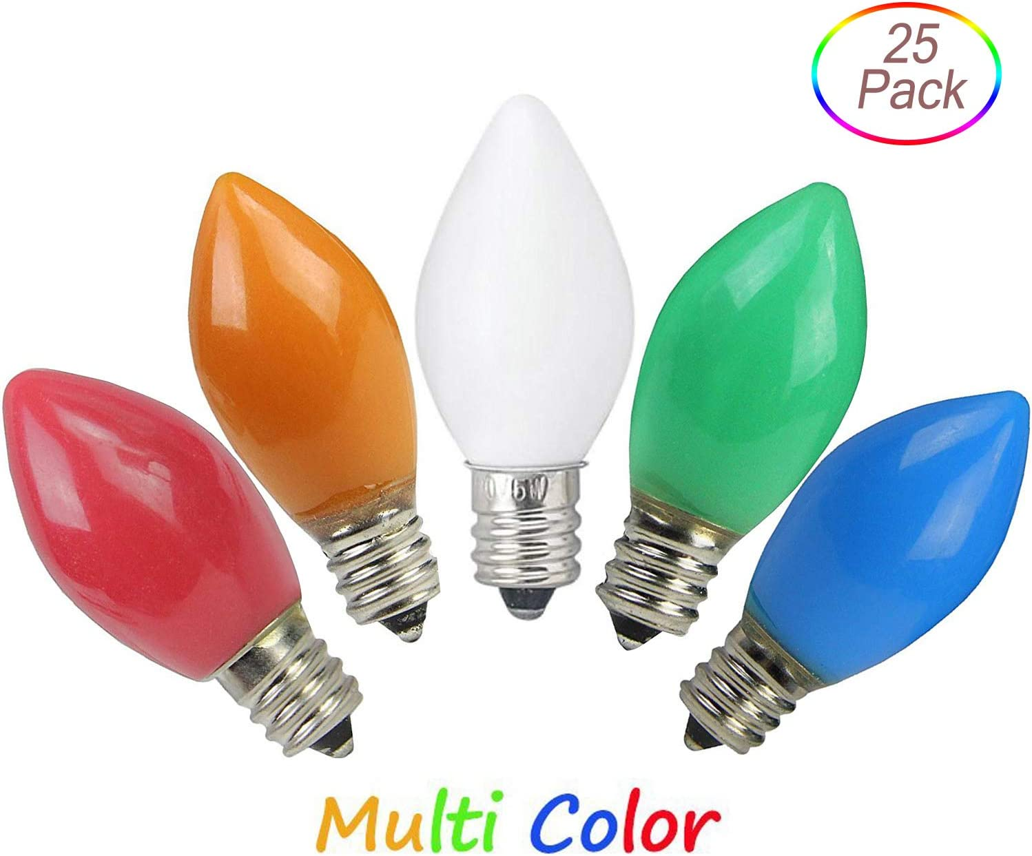 25 Pack C7 Outdoor Christmas Replacement Bulbs C7//E12 Candelabra Base