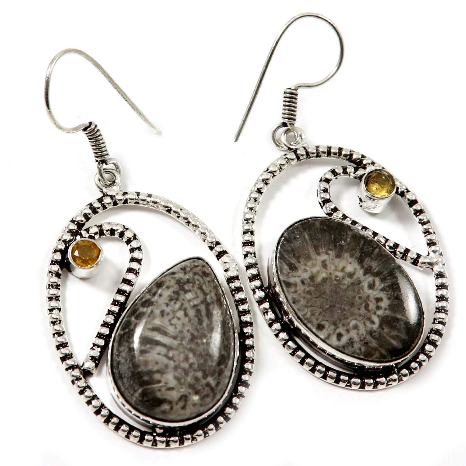 Goyal Crafts Stingray Fossil Coral Natural Earring Silver Plated Jewelry GEG13