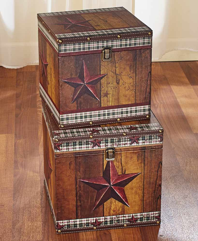 Set of 2 Decorative Country Trunks