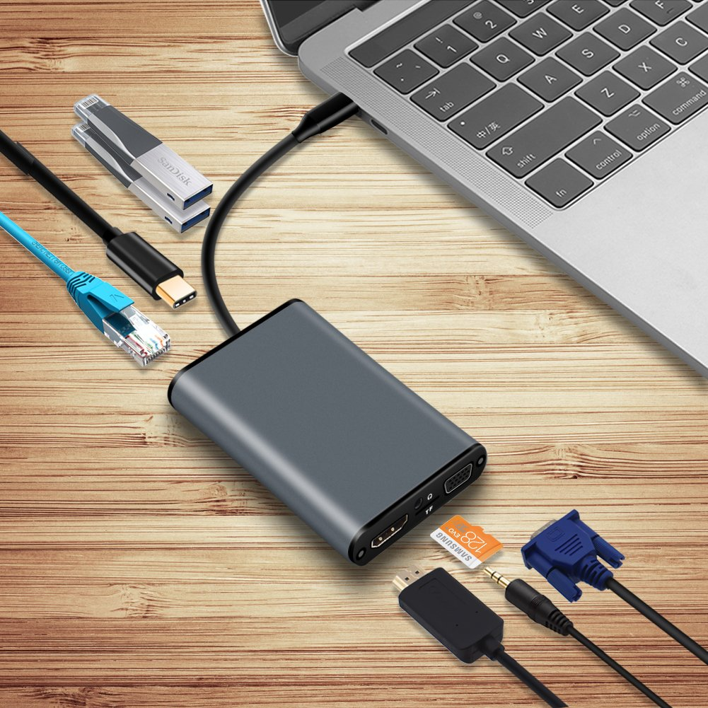 USB-C Hub Multiport Adapter to 4K HDMI VGA, Ethernet RJ45, Headphone Jack, 2 USB 3.0, TF Card Slot, USB C PD Charge Port for New Macbook 12 Macbook Pro Dell XPS 13 Chromebook Pixel