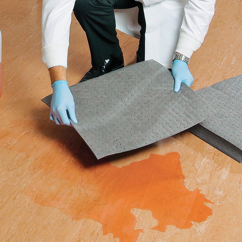 New Pig Absorbent Mat Pad, 22 oz Absorbency Per Pad, Absorbs Oils, Coolants, Solvents & Water, Mediumweight, 20'' x 15'', Gray (125 Pads), MAT412