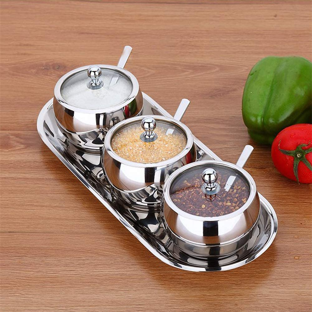 High-end Durable Stainless Steel Sugar Bowl Gadgets Can Kitchen Tools with Lid and Sugar Spoon Versatile Seasoning Container Kangsanli