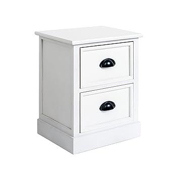 Mobili Rebecca Nachttisch Weiß Elegant 2 Schubladen Holz French